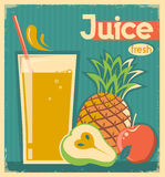 Fresh fruit juice.Vector vintage card Royalty Free Stock Photography