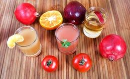 Fresh fruit juices Royalty Free Stock Photos