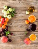 Fresh fruit juices and fruits, top view Royalty Free Stock Image
