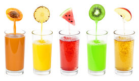 Fresh fruit juices Royalty Free Stock Images