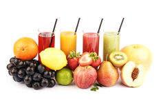 Fresh fruit juices isolated on white Royalty Free Stock Photography