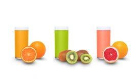 Fresh fruit juices. Isolated on a white background Royalty Free Stock Image
