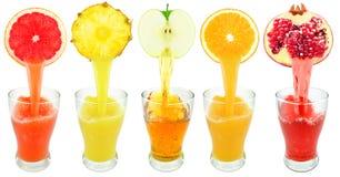 Fresh fruit juices Stock Photos
