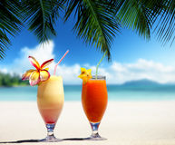Fresh fruit juices on a tropical Stock Photo