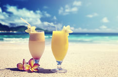 Fresh fruit juices on a tropical Stock Photography