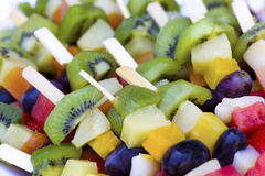 Fresh fruit kabobs. Closeup of multiple fruit kabobs comprised of assorted fresh fruits Stock Photography