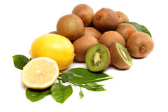 Fresh fruit. Kiwi and lemon. Stock Photo