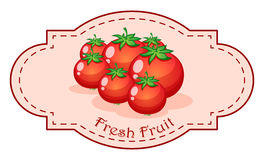A fresh fruit label with fresh tomatoes Royalty Free Stock Photo