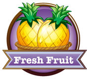 A fresh fruit label with pineapples Stock Photos