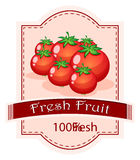 A fresh fruit label with ripe tomatoes Stock Photography