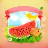 Fresh fruit label watermelon Stock Images
