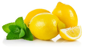 Fresh fruit lemons in section with leaf Stock Image