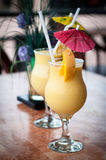 Fresh fruit mango shake in glass Stock Photos