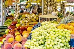 Fresh fruit in market hall, old town Trogir, Croatia. Food theme. Travel destination. Yellow photo filter royalty free stock photo