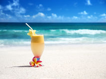 Fresh fruit mix of juices on a beach Royalty Free Stock Images