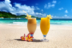 Fresh fruit mix of juices on a beach Royalty Free Stock Photo