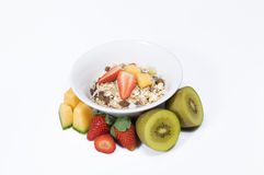 Fresh fruit and muesli Royalty Free Stock Images