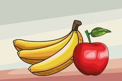 Fresh fruit nutrition healthy background. Fresh fruit nutrition healthy grouped bananas and apple fitness diet options brown and grey background vector royalty free illustration