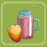 Fresh fruit nutrition healthy background. Fresh fruit nutrition healthy grouped colorful mango and juice glass fitness diet options drawing green background royalty free illustration