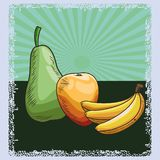 Fresh fruit nutrition healthy background. Fresh fruit nutrition healthy grouped colorful pear mango and bananas fitness diet options drawing surface background royalty free illustration