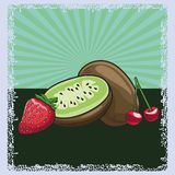 Fresh fruit nutrition healthy background. Fresh fruit nutrition healthy grouped colorful strawberry kiwi and cherry fitness diet options drawing surface stock illustration