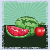 Fresh fruit nutrition healthy background. Fresh fruit nutrition healthy grouped colorful watermelon and apple fitness diet options drawing surface background stock illustration