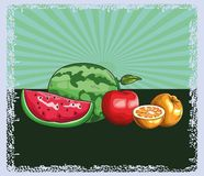 Fresh fruit nutrition healthy background. Fresh fruit nutrition healthy grouped colorful watermelon apple and orange fitness diet options drawing surface stock illustration