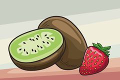 Fresh fruit nutrition healthy background. Fresh fruit nutrition healthy grouped kiwi and strawberry fitness diet options brown and grey background vector royalty free illustration