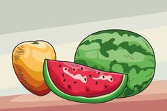 Fresh fruit nutrition healthy background. Fresh fruit nutrition healthy grouped mango and watermelon fitness diet options brown and grey background vector royalty free illustration