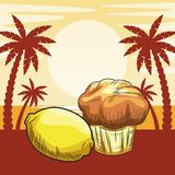 Fresh fruit nutrition healthy beach background. Fresh fruit nutrition healthy grouped lemon and muffin fitness diet options beach palm trees background vector stock illustration
