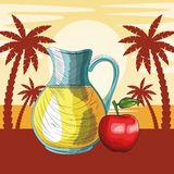 Fresh fruit nutrition healthy beach background. Fresh fruit nutrition healthy grouped orange juice and apple fitness diet options beach palm trees background royalty free illustration