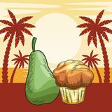 Fresh fruit nutrition healthy beach background. Fresh fruit nutrition healthy grouped pear and muffin fitness diet options beach palm trees background vector royalty free illustration