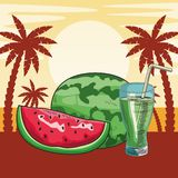 Fresh fruit nutrition healthy beach background. Fresh fruit nutrition healthy grouped watermelon and juice glass fitness diet options beach palm trees background stock illustration