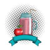 Fresh fruit nutrition healthy round frame. Fresh fruit nutrition healthy grouped juice glass and apple fitness diet options round frame ribbon banner vector stock illustration