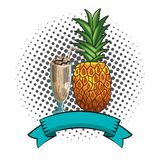 Fresh fruit nutrition healthy round frame. Fresh fruit nutrition healthy grouped milkshake and pineapple fitness diet options round frame ribbon banner vector royalty free illustration