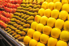 Fresh fruit offer on spanish market Royalty Free Stock Photos