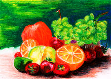 Fresh fruit painting by crayon. On paper Stock Photos