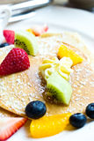 Fresh fruit pancakes. Royalty Free Stock Images