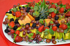 Fresh fruit on party platter Stock Photos