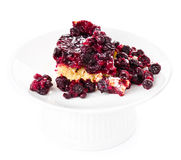 Fresh fruit pie with powdered sugar on white background. Piece of fresh fruit pie with powdered sugar on white background Stock Images