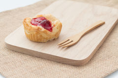 Fresh fruit pie tart with cherry. That serve on wood block (capture with natural light royalty free stock photos