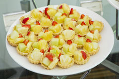 Fresh fruit pie tart with pineapple and strawberry. Stock Images