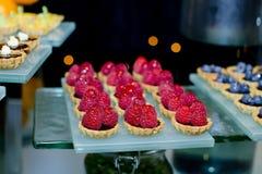 Fresh fruit pie tart with with raspberry Stock Photo
