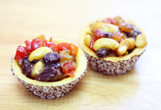 Fresh fruit pie tart. On wood royalty free stock photography