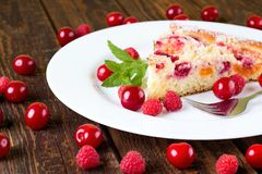 Fresh fruit pie on white plate Stock Photo