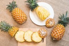 Fresh fruit pineapple healthy food. Fresh fruit pineapple or Ananas comosus is a tropical plant with an edible multiple fruit consisting of coalesced berries Royalty Free Stock Photos
