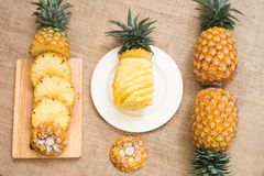 Fresh fruit pineapple healthy food. Fresh fruit pineapple or Ananas comosus is a tropical plant with an edible multiple fruit consisting of coalesced berries Royalty Free Stock Image