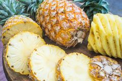 Fresh fruit pineapple healthy food. Fresh fruit pineapple or Ananas comosus is a tropical plant with an edible multiple fruit consisting of coalesced berries Stock Photo