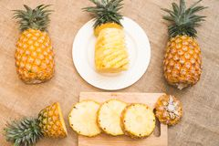 Fresh fruit pineapple healthy food. Fresh fruit pineapple or Ananas comosus is a tropical plant with an edible multiple fruit consisting of coalesced berries Royalty Free Stock Photo