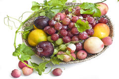Fresh fruit on a  plate Stock Images